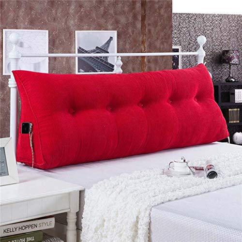 ZHAYEDE Große Bequeme Dreieckige Rückenlehne Bett Kissen Kopfteil,Rückenkissen Keilkissen Bett Zum Lesen Rest Im Bett Rest Atmungsaktive Lendenkissen Bücherkissen Taille Mit Waschbarem Rot