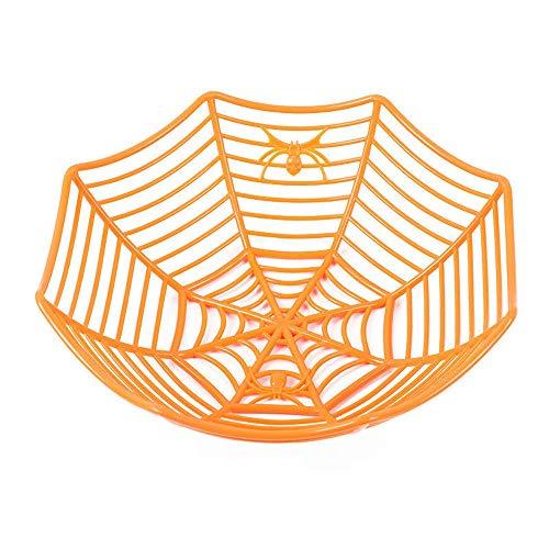 TAOtTAO Fruit Basket Réparation de fruits en plastique Panier Spiderweb Halloween Party Decor Cuisine, Orange, 29x8 cm