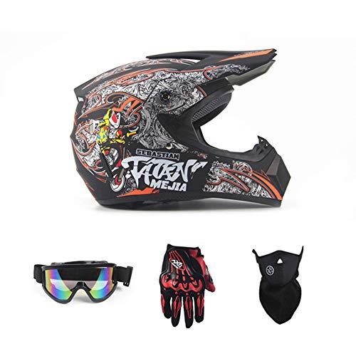 SanQing Motorrad-DH-Helm, Outdoor-Jugend-Kinder-Dirt-Fahrradhelme, Full Face Motocross Offroad-Rennsporthelm (Handschuhe, Brille, Maske, 4-teiliger Satz),Schwarz,XL