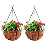 HOUSWOUKER Hanging Planter Hanging Flower Basket 2Pack with Coco Coir Liner Metal Chain 12inch Round Wire Plant Growers Holder Flower Pots Hanger for Indoor Outdoor Garden Porch Decoration