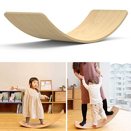lxfy Holz Wobble Balance Board, Waldorf Spielzeug Balance Board, Kid Yoga Board kurvige Board, Holz Outdoor Wippe Spielzeug für Kinder