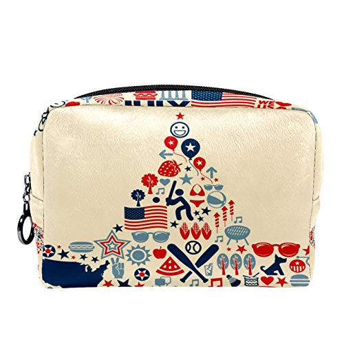 4Th of July Stars Makeup Bag Toiletry Bag for Women Skincare Cosmetic Handy Pouch Zipper Handbag
