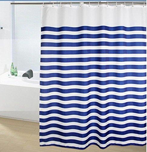 GYMNLJY Blau & weiß Gardinen Polyester wasserdicht Bad abgeschnitten hängenden Vorhang geruchlos Mehltau resistent Duschvorhang Polyester , 150*180
