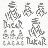 Autodomy Pegatinas Dakar Pack de 12 Unidades para Coche o Moto (Plata)