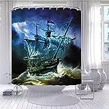 KQPYS DuschvorhangSchiff Anker Ruder Boot Duschvorhang Piraten Segelboot Seestern Badezimmer Wandbehang Gardinen wasserdichte Haken Display Dekor