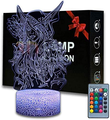 Sylvanas Windrunner 3D-LED-Illusions-Lampe, Nachttisch-Nachtlicht, beleuchtete Kinder-Lampe, 16 Farbwechsel, Touch-Taste, USB-Kabel, Dekoration, Schreibtischlampen