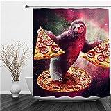 SUHETI Duschvorhang 180x180cm,Karikaturfaultier im bunten Galaxienraum Lustiges wildes Tier mit w&erlicher Pizza,Duschvorhang Wasserabweisend-Duschvorhangringen 12 Shower Curtain mit