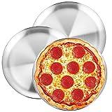 WEZVIX - Set di 3 teglie per pizza in acciaio INOX, 30,5 cm, per forno e forno, per pizza, teglia da forno rotonda, per cucina, ristorante, lavabile in lavastoviglie e resistente