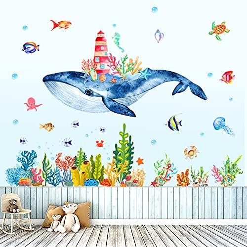 Pescado Oceano Adhesivos Pegatinas de Pared Bajo el Mar Vinilos Decorativos Pegatinas de Pared Tropical Peces Vinilos Decorativos Baño Habitación Infantiles Guardería (Color)