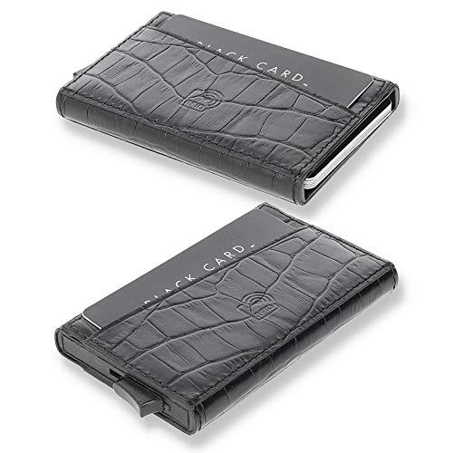 Solo Pelle Kartenetui | Kreditkartenetui | Leder Geldbörse Slim Wallet Portmonee | Geldbeutel mit RFID Schutz für bis zu 11 Karten Model: Mech (Kroko Schwarz)