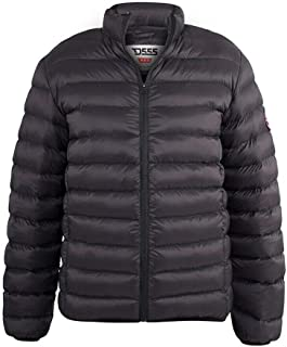 D555 DUKE TALL MENS BLACK PUFFER JACKET WITH SLEEVE PATCH LONGER LENGTH 300808-T