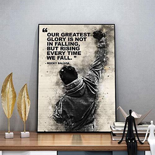 DCPPCPD Pintura De La Lona 60 * 90cm Sin Marco Carteles de impresión de Lienzo de Boxeo Rocky Balboa en Blanco y Negro e Impresiones Carteles de motivación para la decoración del Dormitorio