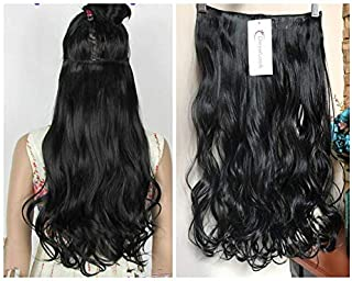 One Piece Wavy Curly Half Head Clip in Hair Extensions Solid Color DL (Natural black)