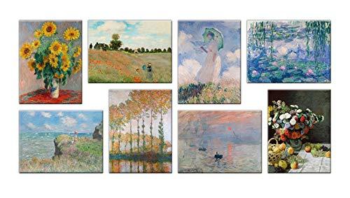 LuxHomeDecor Cuadros Claude Monet 8 piezas 40 x 30 cm Impresion sobre lienzo con marco de madera Decoracion Arte Moderno