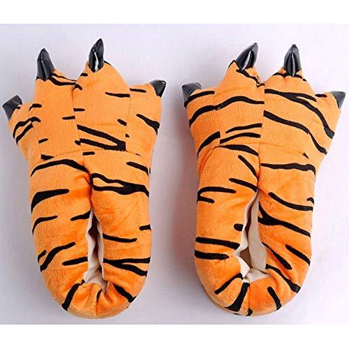 POWARM Pijamas de una Pieza de Dibujos Animados de Animales a Juego con Zapatos de algodón, Pantuflas para el hogar, Zapatos de Garra de Dinosaurio-Patrón de Tigre_Tamaño Grande (40-45)