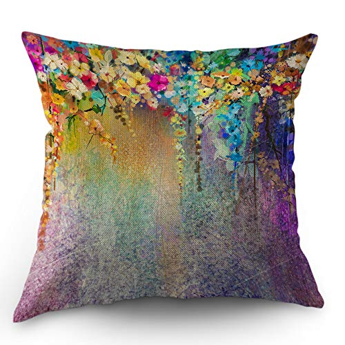 Moslion Floral Pillows Flower Decorative Throw Pillow Cover Watercolor Painting Flowers Pillow Case 18x18 Inch Cotton Linen Square Cushion Cover for Sofa Bed Purple
