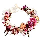 Yazilind Mariage Nuptiale Fleur Couronne Demoiselle d'honneur Rose Florale Guirlande Plage Coiffe avec Ruban Photo Props