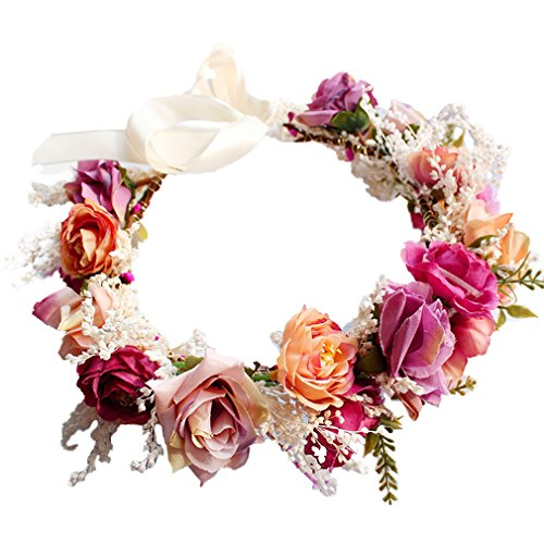 YAZILIND Hochzeit Blumen Kranz Crown Brautjungfer Rose Floral Kopfschmuck mit Ribbon Photo Requisiten