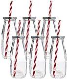 Estilo Dairy Reusable Glass Milk Bottles with Straws and Metal Screw on Lids (Set of 6), 10.5 oz,...