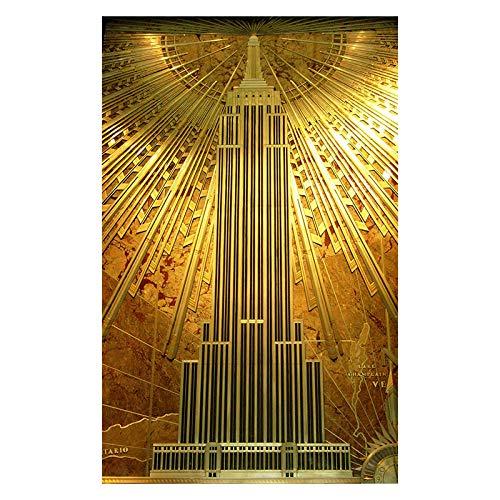 HJKLP Gold Empire State Building Poster Arte Dorado Lienzo Pintura ImpresióN Arquitectura...