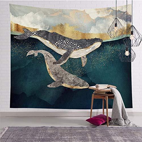Proumhang Wandteppich Tapestry der goldenen Landschaft der psychedelischen Natur Wandteppich Hintergrund Stoff Blatt mehrfarbige Heimteppich-Stil 20(150x200cm)