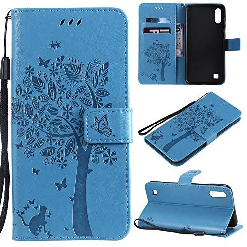 Zchen Samsung Galaxy A10 Hülle, Kunstleder Portemonnaie Handy-Schutzhülle Book Flip Design Klapphülle Etui Tasche für Samsung Galaxy A10/M10 (Katze-Blau)