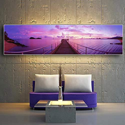 DERFV Póster de Pintura de Lienzo de Paisaje Natural de Puente de Amanecer, Mural de Sala de Estar escandinavo escandinavo