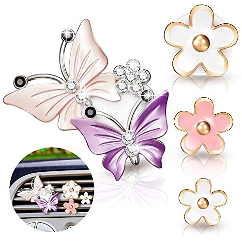 4 clips de ventilación de coche con mariposa, accesorios para coche, lindas margaritas, flores, decoración de aire para coche