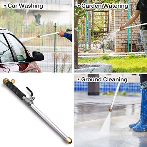 Portable Hydro Jet High Pressure Power Washer Gun Heavy Duty Metal Watering Wand Sprayer Universal Hose End with 2 Hose Nozzles for Outdoor Washings Garden Hose and Car Washing, Black