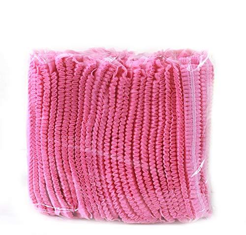 Einweg-Kappen, Mob-Kappen, Haarnetz-Kappen, elastisch, Einheitsgröße, für Kosmetik, Schönheit, Küche, Kochen, Heimindustrie, Krankenhaus (Pink)