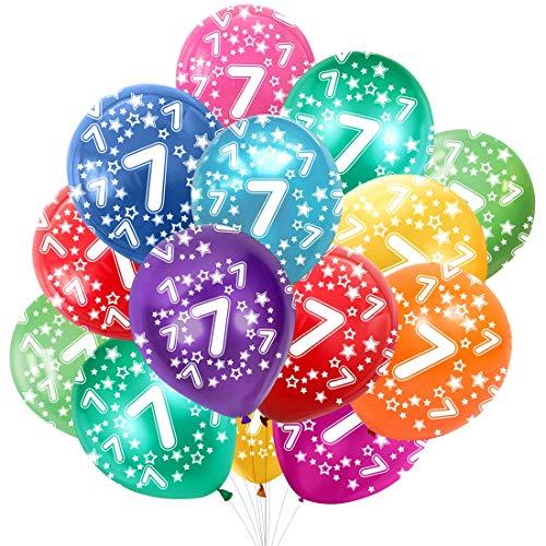 Globo Número 7, Cumpleaños Globos 7 Años, 7 Cumpleaños Decoración Globos Niño,Colores Globos Numeros 7 Fiesta Decoración para Feliz Cumpleaños,30 cm-Paquete de 30