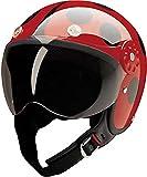 HCI Open Face Fiberglass Motorcycle Helmet - Red/Black Ladybug 15-210 (Small)