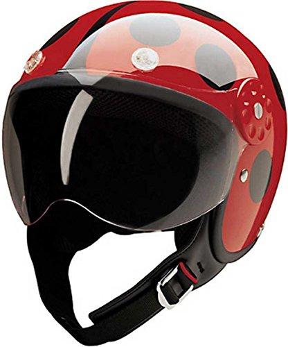 HCI Open Face Fiberglass Motorcycle Helmet - Red/Black Ladybug 15-210 (XS)