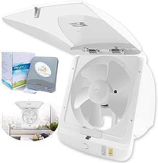 VentiladorExtractor de bajo Nivel de Ruido Tipo de Ventana de Pared Ventilador for Cocina Dormitorio Baño Ventilador doméstico, 295 × 295 mm (Color : White)