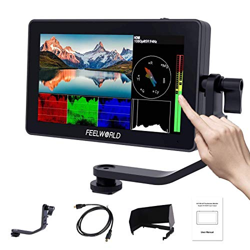 Feelworld F6 Plus 5.5 Zoll DSLR Kamera Field Monitor Touch Screen HDR 3D Lut Wellenform Small Full HD 1920x1080 IPS Video Peaking Focus Assist mit 4K HDMI Typ-C 8.4V DC Output Gehören Tilt Arm