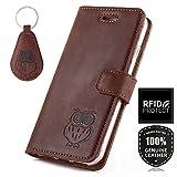 SURAZO Handy Hülle Für Samsung Galaxy Note 9 - Eule - TV RFID Nubuk Nussbraun - Ölleder Premium - Vintage Wallet Case