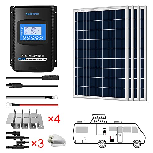 ACOPOWER 400 watts Polycrystalline Panel Solar RV Kits