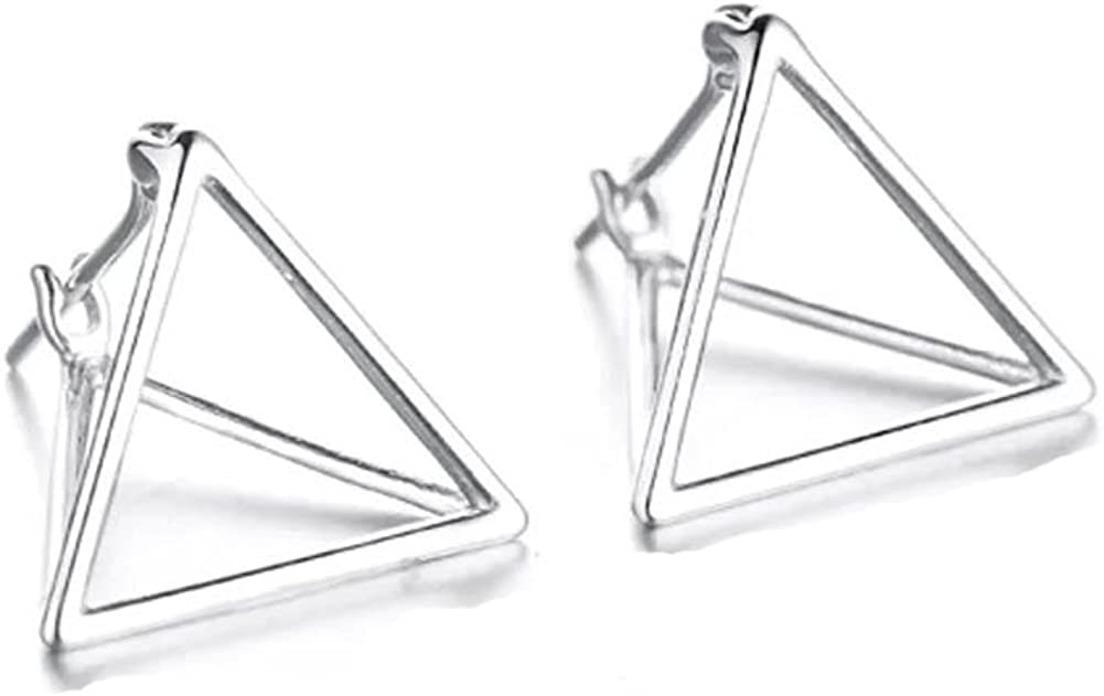 Helen de Lowest price challenge Lete Simple Geometric Sterling Triangle Stud Silver Ear Albuquerque Mall