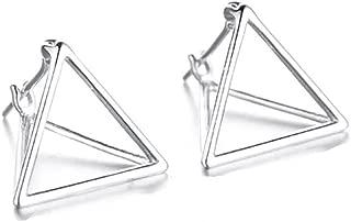 Simple Geometric Triangle Sterling Silver Stud Earrings
