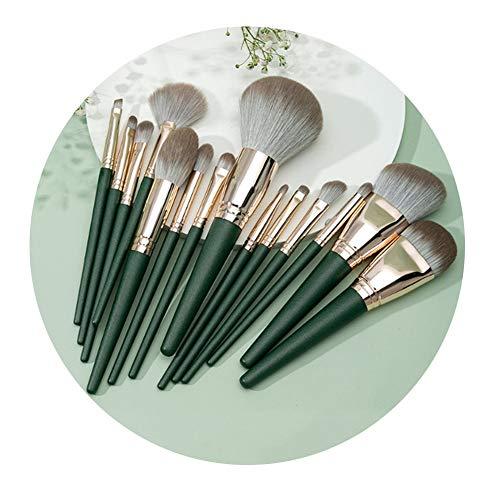 ZXIAOMEI 14 Bucket Brosses Maquillage multifonctionnel avec sac de rangement for vrac Fond de teint poudre fard à paupières fard à joues facile à transporter vert