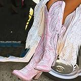 QAZW Bottes de Cow-Girl à Talons épais pour Femmes Bottes de Cow-Boy à Broderies,Pink-40