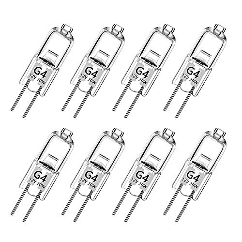 G4 Halogen Light Bulbs,8 Stück 20 Watt G4 Halogen-Stiftsockellampe Kapselglühlampen,12V G4 Halogenlampen, 2800K Warm White Dimmbar [Energy C[Energieklasse C]