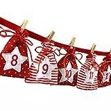 Image of Frau WUNDERVoll® Adventskalender zum Befüllen - Stoff, rot weiß/Weihnachtskalender,Zahlen,Beutel,Sack,Säcke,Säckchen,Stoffbeutel,Baumwolle,Baumwollsäckchen,Geschenkbeutel,Bastelset