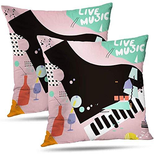 Annays Gooi kussenslopen Piano Art Kussensloop Kussenslopen Live Muziek Wijn Flat Live Muziek Wijnkussen Cover Gift Live Muziek Wijn