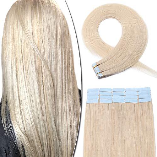 Extension Adhesive Cheveux Naturel 20 Pcs - Rajout Vrai Cheveux Humain Bande Adhesive Lisse (#70 Blanc, 60 cm)
