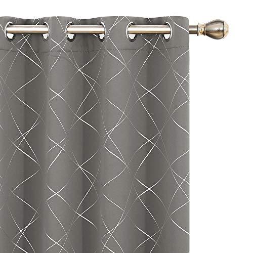 Umi Amazon Brand 2 Stück Gardine Thermovorhang Lichtdicht Vorhang Ösenvorhänge Schlafzimmer 245x140 cm Hellgrau
