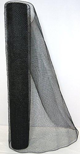 Deko-Stoff Mesh 900 x 50cm auf Einer Rolle - in verschiedenen Formen und Farben - Bastel-Stoff - Dekostoff-Netz - Netzgewebe - Bastel-Dekostoff (kleine Maschen, schwarz)
