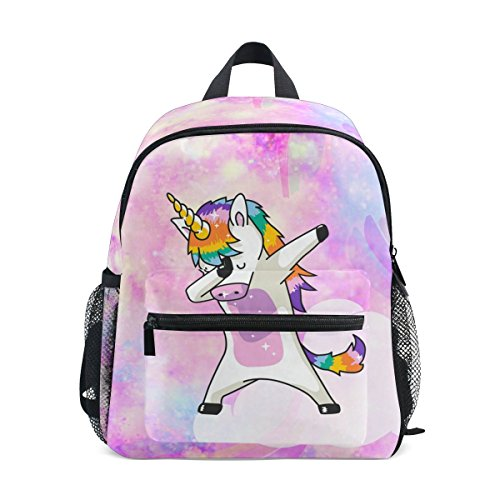 Mochilas Escolares Infantiles, Divertido Unicorn Galaxy Impreso Personalizado Ligero Bolso Preescolar para Niños Niñas Niños Rosa