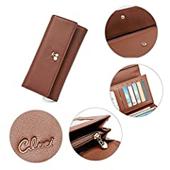 Wallets for Women Leather Ladies Purse Trifold Clutch Long Credit Card Holders Organizer Brown #4
