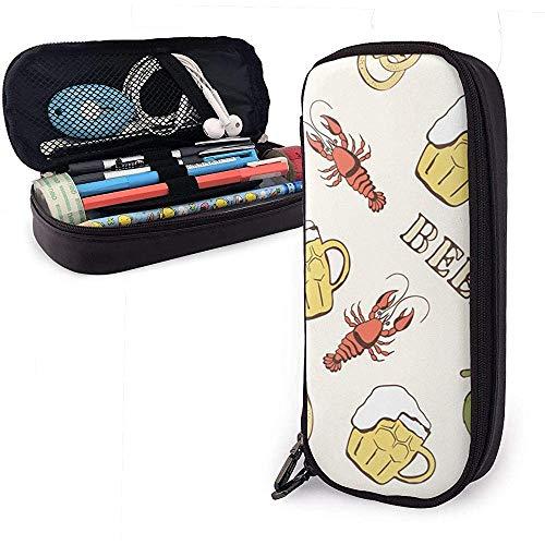 Glas van bier hop en rivierkreeft schattige pen potlood Case lederen zak potlood case houder doos voor school kantoor meisjes jongens volwassenen
